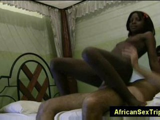 Young petite swahili girl rides white dick in the matter of african B & B