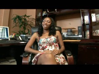 Ebony knockout gets nailed pov expose atop the office confessional